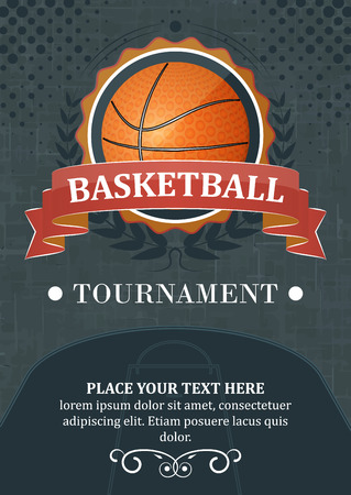 Basketball tournament background or poster. Design with ball, ribbon and laurel wreath.