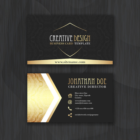 Foto per Gold and black horizontal business card template. Design for personal or business use with front and back side. Vector illustration. - Immagine Royalty Free