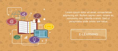 E-learning. Web banner, slider or vector flat background.