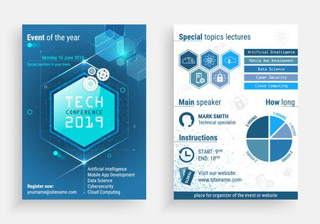 Illustration for Business flyer  template with a technology conference title - Royalty Free Image