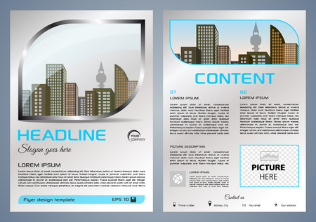 Brochure design and cover presentation with metal window.