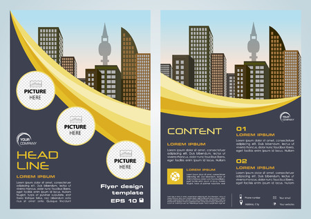 Vector corporate business, annual report, brochure design and cover presentation with dark blue and yellow lines.