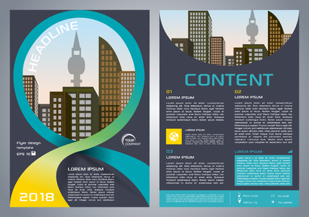 Vector flyer, corporate business, annual report, brochure design and cover presentation with yellow and cyan ribbon.