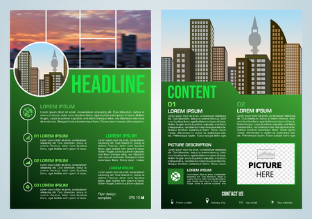Vector flyer, corporate business, annual report, brochure design and cover presentation with blured city in green color