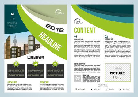 Vector flyer, corporate business, annual report, brochure design and cover presentation with green and blue waves.