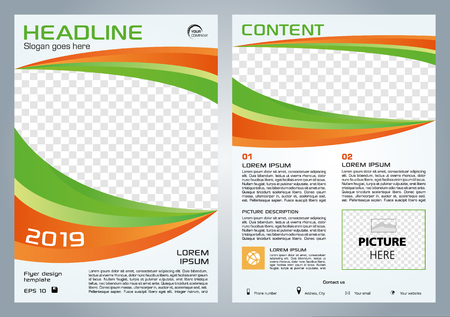 Vector flyer, corporate business, annual report, brochure design and cover presentation with green and orange shape.