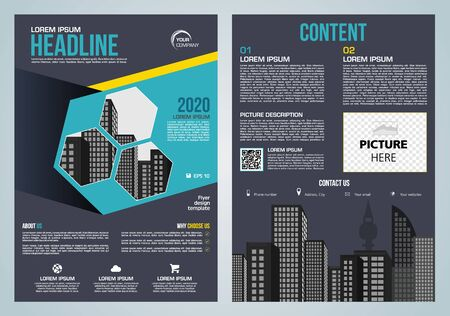 Illustration pour Vector flyer, corporate business, annual report, brochure design and cover presentation with blue hexagon - image libre de droit
