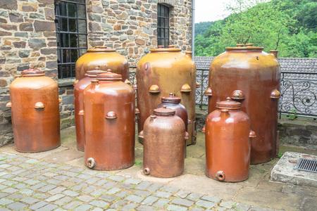 Earthenware jars, jugs, clay pottery for storing oil, vinegar, sauerkraut, wine, etc.