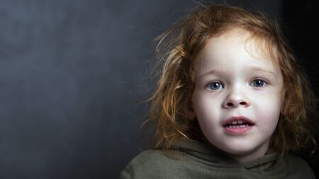 Photo pour cute red-haired little girl portrait on a gray background. redhead child . - image libre de droit