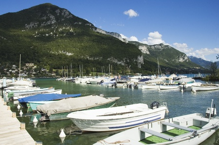 Marina of Annecy's lake and view of Annecy-le-vieux
