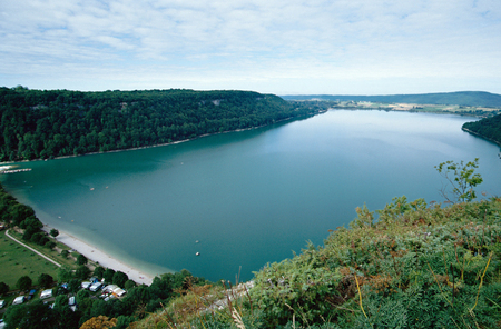 Overview of Chalain lake in Jura in Savoy, Clairvaux les lacs, France