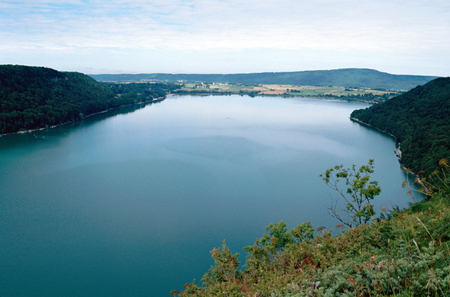 Overview of Chalain lake in Jura, Clairvaux les lacs, France