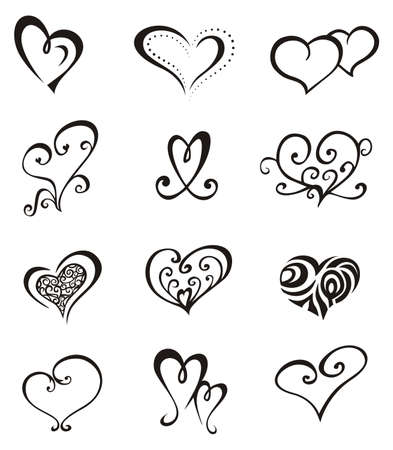 Heart shaped vector decorative elements for design or tattoo.