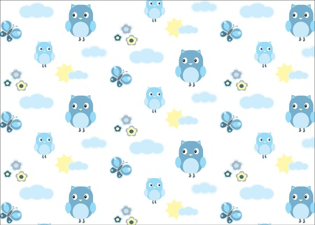 Photo for Baby boy owl and a butterfly seamless pattern - Royalty Free Image
