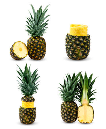 Set Collection of Fresh Juice Whole Pineapples. Rich with Vitamins. Isolated on white background.