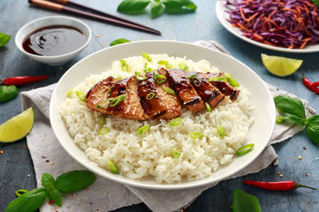 Photo for Teriyaki chicken with rice and red cabbage salad. Asian style food - Royalty Free Image