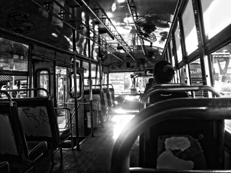 Black and white perspective in a Thai bus