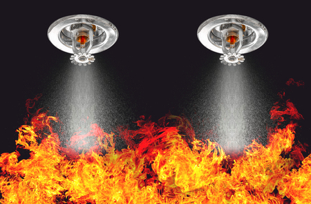Photo for Image of Fire Sprinklers Spraying with fire background. Fire sprinklers are part of an overall safety protocol for fire and life safety. - Royalty Free Image