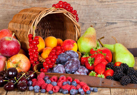A fresh Fruit Basket with European Fruits in Summer
