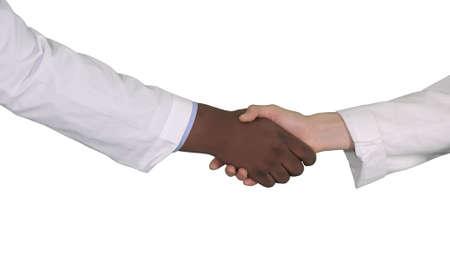 Photo pour Medical handshake on white background. - image libre de droit