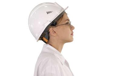 Photo pour Female scientist walking on white background. - image libre de droit