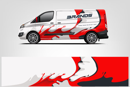 Illustration pour Van wrap design. Wrap, sticker and decal design for company. Vector format - Vector - image libre de droit