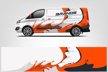 Ilustración de Car decal wrap design vector. Graphic abstract stripe racing background kit designs for vehicle, race car, rally, adventure and livery - Vector - Imagen libre de derechos