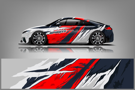 Illustration pour Car decal wrap design vector. Graphic abstract stripe racing background kit designs for vehicle, race car, rally, adventure and livery - Vector - image libre de droit