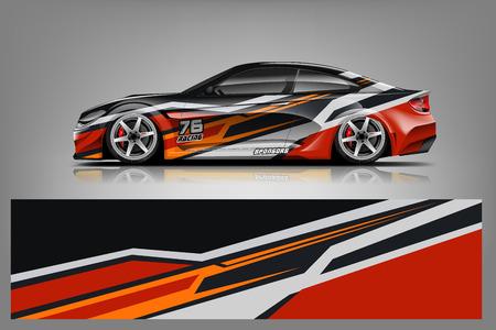 Ilustración de Sport car racing wrap design. vector design. - Vector - Imagen libre de derechos