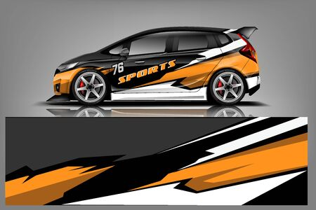 Ilustración de Car decal wrap design vector. Graphic abstract stripe racing background kit designs for vehicle, race car, rally, adventure and livery - Vector - Imagen libre de derechos