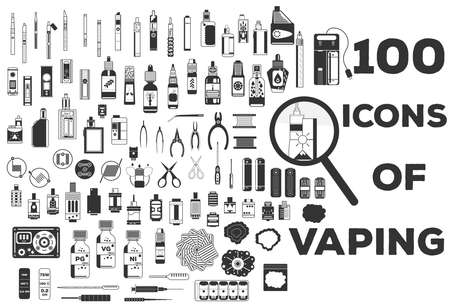 Illustration pour Vape vector illustration of vaporizer and accessories - image libre de droit