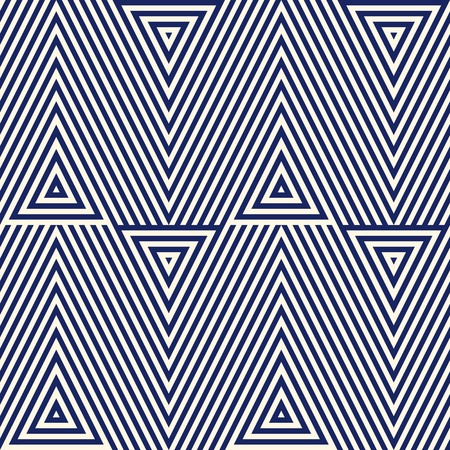 Illustration pour Pattern with geometric ornament. Striped navy blue abstract background. Repeated triangles wallpaper. Vector illustration - image libre de droit