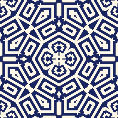 Illustration pour Seamless pattern with symmetric geometric ornament. Navy color abstract background. Vector illustration - image libre de droit