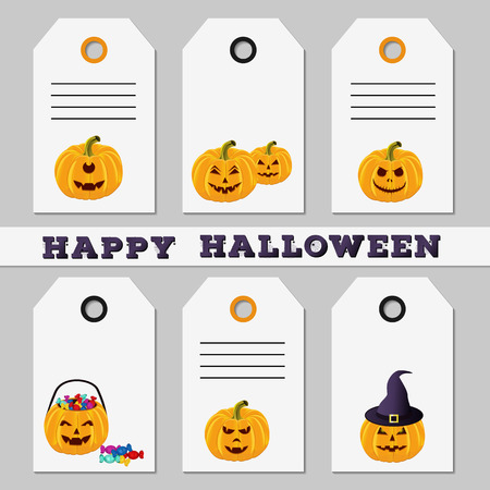 Set Of Halloween Sale Discount Offer Or Gift Tags On White Background Template Of Labels With Funny Cartoon Carved Pumpkins Design For Holiday Greeting Vector Illustration Royalty Free Vector Graphics