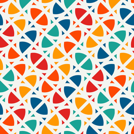 Illustration for Bright modern print with geometric shapes. Contemporary abstract background with repeated figures. Colorful seamless pattern with geometric forms. - Royalty Free Image