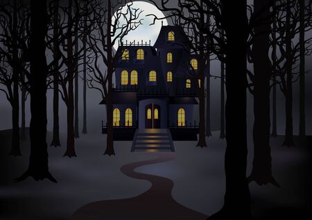 Illustration pour Haunted house in foggy forest in full moon. Spooky scene. Vector illustration - image libre de droit