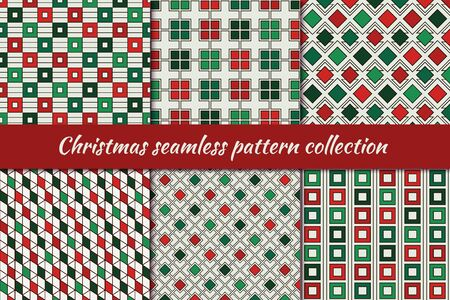 Illustration pour Christmas seamless pattern collection. Holiday backgrounds set. Print kit in traditional colors. Repeated rhombuses, squares,diamonds motif geometric ornaments. Vector scrapbook digital paper - image libre de droit
