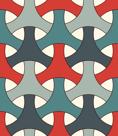 Seamless pattern with traditional japanese ornament. Three pronged blocks tessellation. Repeated interlocking figures. Bishamon armor motif. Sashiko embroidery. Vector abstract backgroundのイラスト素材