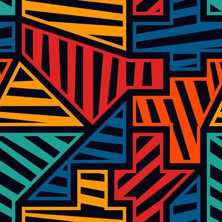 Bright modern seamless pattern. Geometric pop art style surface print. Repeated diagonal striped geo shapes motif. Vivid contemporary creative design texture. Vector graffiti artistic background