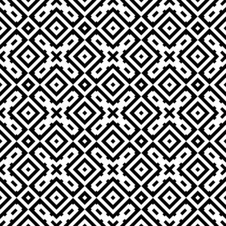 Illustration pour Ethnic ornament. Tribal wallpaper. Embroidery background. Ethnical folk image. Tribe motif. Ancient mosaic. Digital paper, web design, textile print, backdrop. Seamless abstract art. Vector artwork. - image libre de droit
