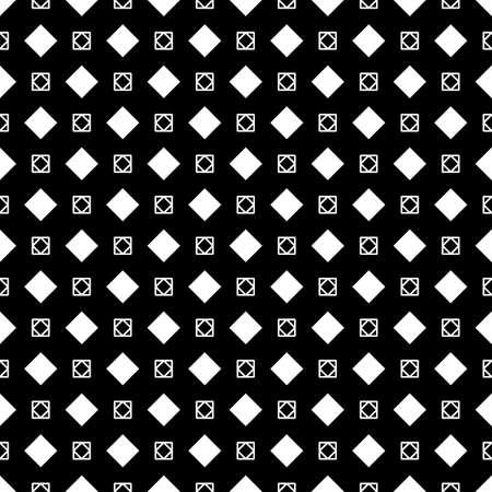 Illustration pour Rhombuses, squares on black background. Seamless surface pattern design with diamonds ornament. Checks wallpaper. Ethnic mosaic motif. Digital paper for textile print, page fill, web designing. Vector - image libre de droit