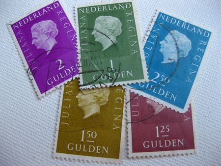 Old Dutch stamps with Queen Juliana