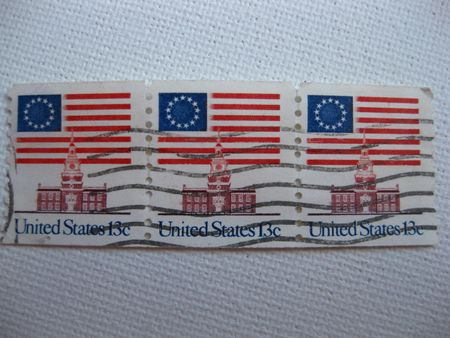Vintage Stars and Stripes stamps 13 cent