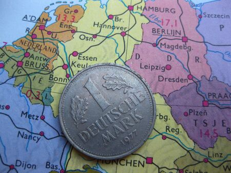 Coin on vintage map: Mark from Germany