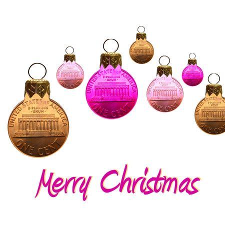 merry christmas card coin ornaments