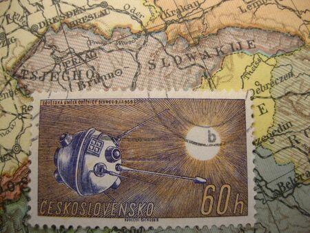 Stamp on vintage map: Czechoslovakia
