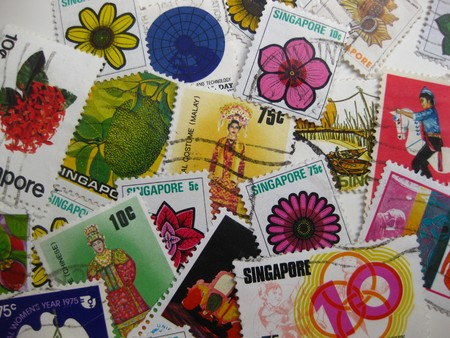 Vintage stamps from Singapore