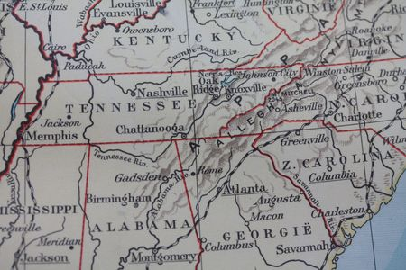 Vintage USA map: southern states: Lizenzfreie Bilder und Fotos