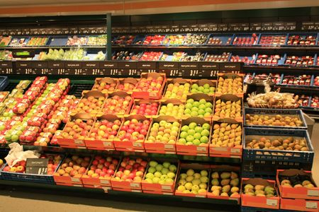 An overview of a grocery store interior
