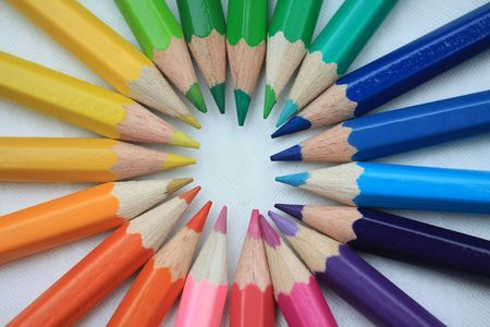 Brand new color pencils in basic colors, making a rainbow circle